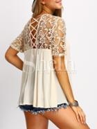 Shein Apricot Crochet Lace Yoke Lace Up Back Blouse