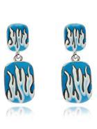 Shein Blue Pattern Rectangle Dangle Earrings