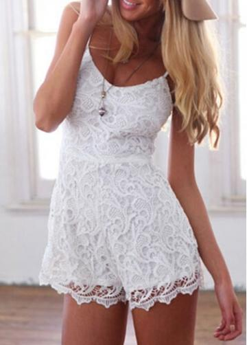 Rosewe Zipper Decorated Lace Spaghetti Strap Rompers