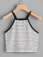 Shein Contrast Binding Crop Striped Cami Top