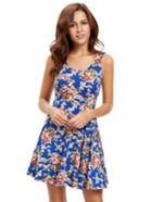 Shein Blue Sleeveless Skater Dress