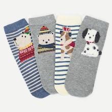 Shein Toddler Kids Cartoon Striped Socks 4pairs