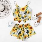 Shein Sunflower Print Cami Top With Wide Leg Shorts