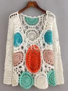 Shein Multicolor Long Sleeve Scoop Neck Crochet Blouse