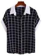 Shein Contrast Collar & Sleeve Grid Blouse
