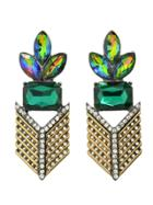 Shein Colorful Rhinestone Flower Statement Hanging Earrings
