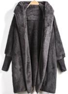 Shein Grey Hooded Long Sleeve Loose Cardigan