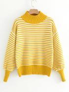 Shein Lantern Sleeve Striped Sweater