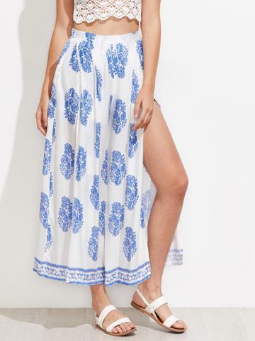 Shein Ornate Print Split Wide Leg Pants
