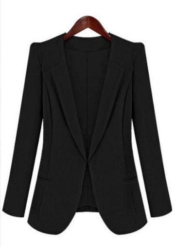 Shein Black Lapel Long Sleeve Slim Pockets Blazer