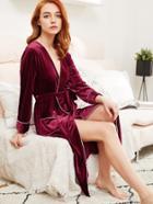 Shein Contrast Binding Self Tie Velvet Robe