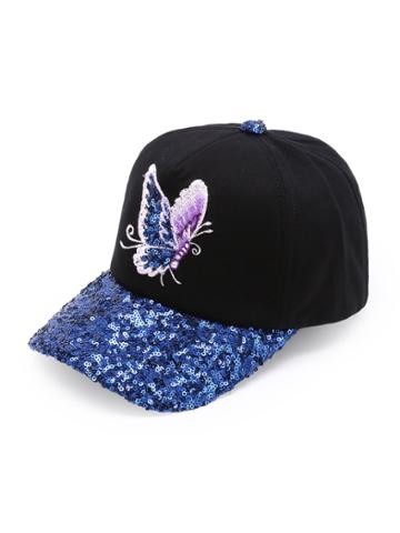Shein Butterfly Embroidery Sequin Brim Baseball Cap