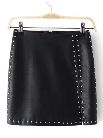 Shein Studded Detail Pu Mini Skirt