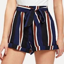 Shein Cuffed Striped Shorts With Belt