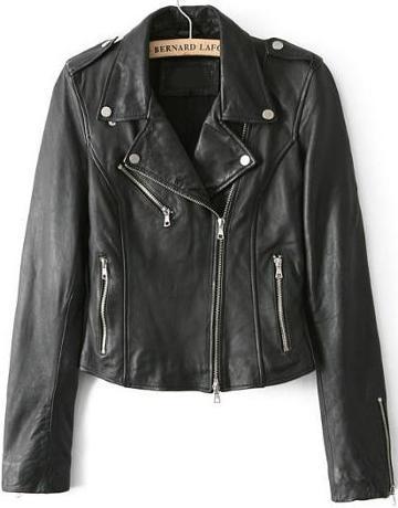 Shein Black Lapel Long Sleeve Zipper Leather Jacket