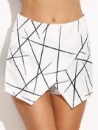Shein White Geometric Print Wrap Shorts