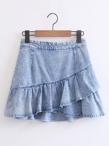 Shein Bleach Wash Ruffle Denim Skirt