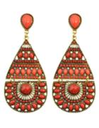 Shein Red Long Drop Bead Earring