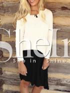 Shein White Color Block Tshirt Dress