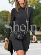 Shein Black Mock Neck Tshirt Dress