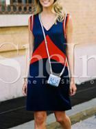 Shein Color Block V Neck Tshirt Dress