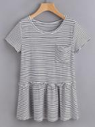 Shein Striped Pocket Front Ruffle Hem Tee
