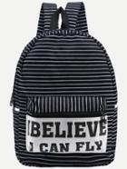 Shein Letter Print Striped Canvas Backpack - Black