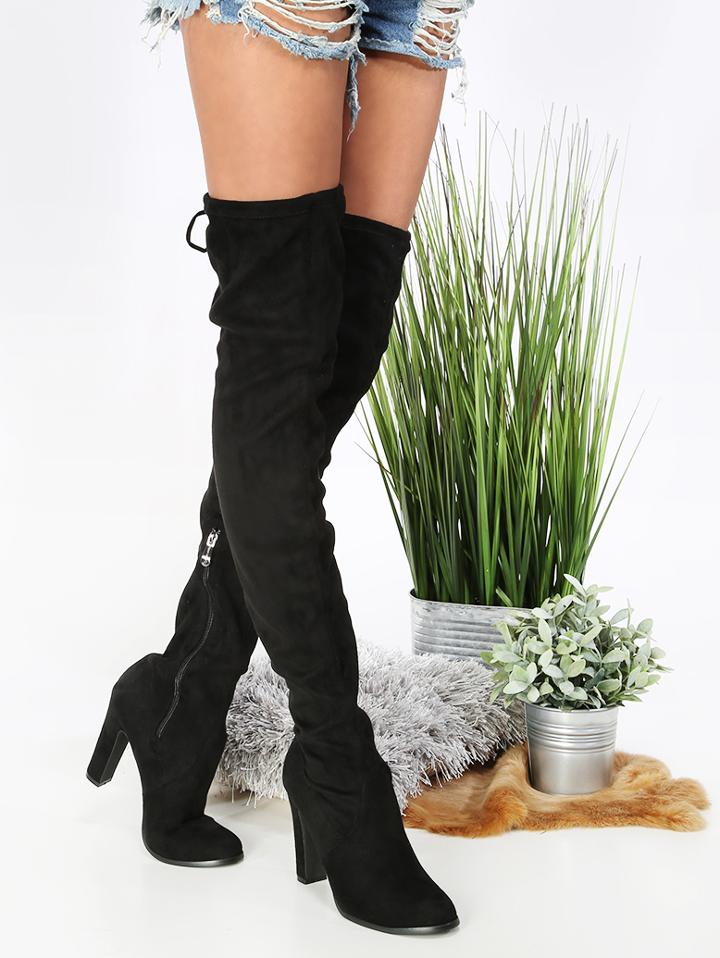 Shein Thigh High Chunky Heel Boots Black