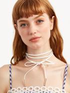 Shein White Metal Bar Wrap Choker Necklace