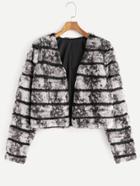Shein Grey Striped Faux Fur Collarless Coat