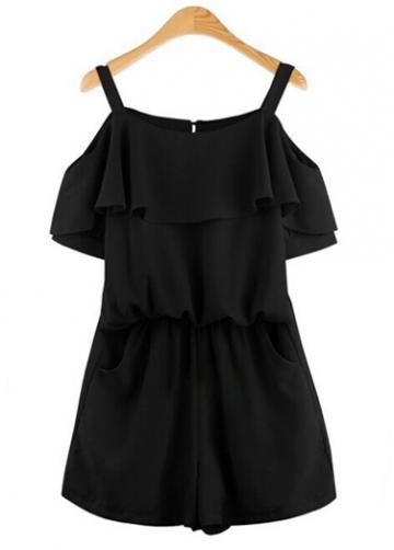 Rosewe Off The Shoulder Black Strappy Rompers