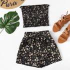 Shein Frill Trim Floral Tube Top With Shorts