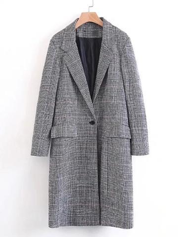 Shein Single Button Plaid Longline Coat