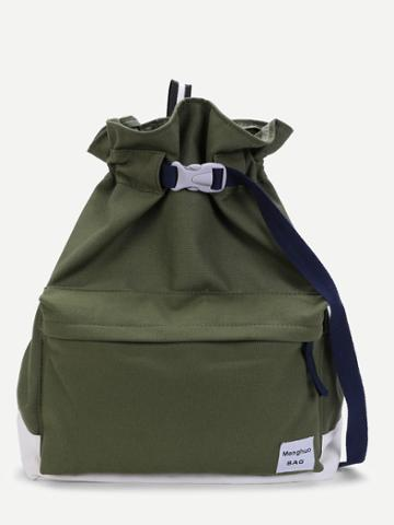 Shein Patch Detail Two Tone Backpack