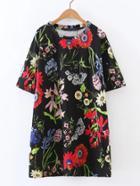 Shein Flower Print Tee Dress