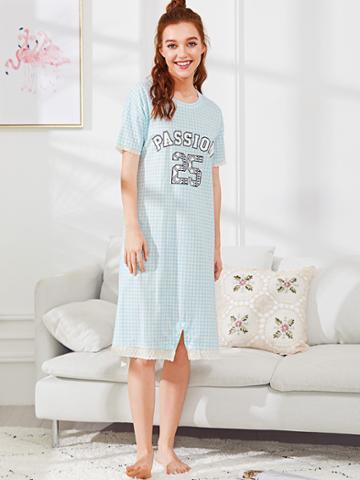 Shein Letter Print Lace Hem Gingham Dress