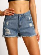 Shein Ripped Frayed Denim Shorts