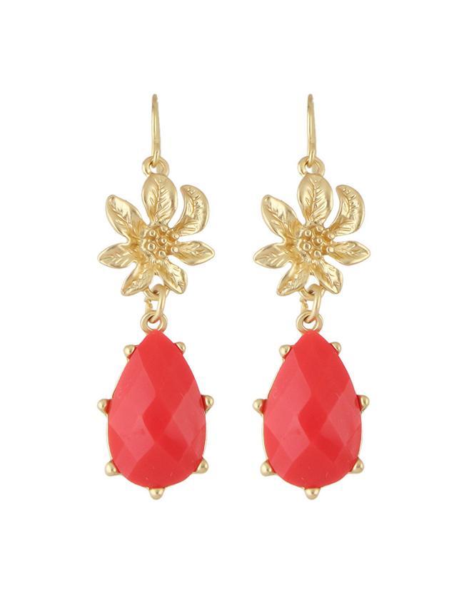 Shein Red Gemstone Flower Drop Earrings