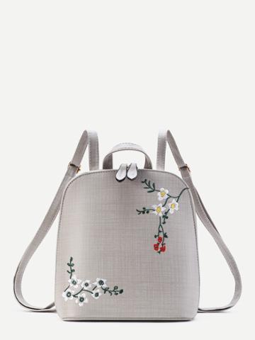 Shein Plum Blossom Embroidery Pu Backpack
