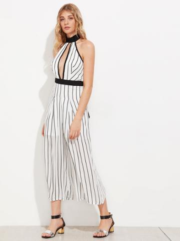 Shein Keyhole Front Backless Vertical Striped Wide Leg Jumpsuit