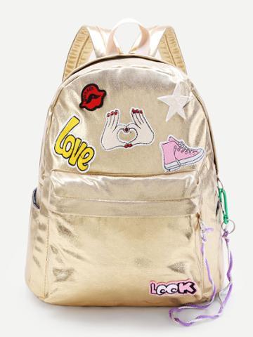 Shein Cartoon Patch Decorated Pu Backpack