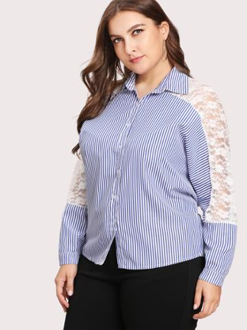 Shein Contrast Lace Striped Shirt