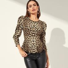 Shein Leg-of-mutton Leopard Peplum Top