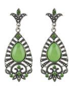 Shein Green Drop Gemstone Silver Dangle Earrings