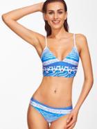 Shein Blue Graphic Printed Sexy Bikini Set