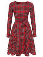 Shein Red Crew Neck Tie-waist Plaid Dress