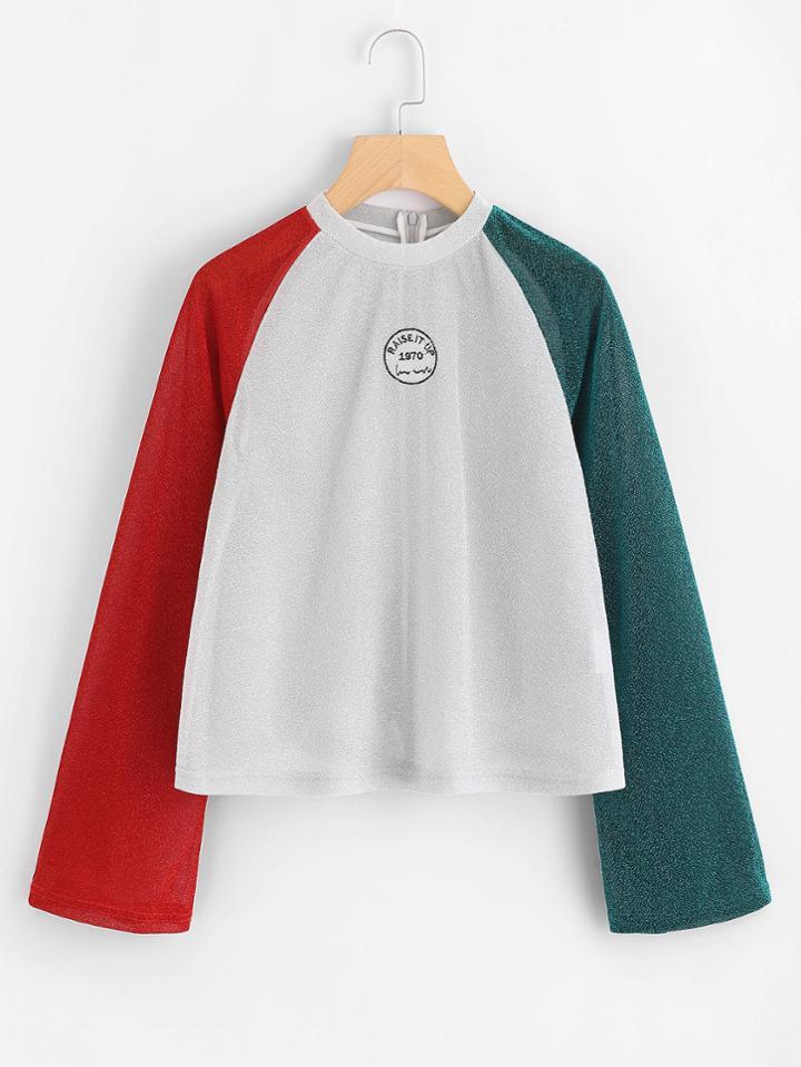 Shein Glitter Contrast Raglan Sleeve Embroidered Tshirt