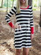 Shein White Striped Contrast Cuff Tshirt Dress