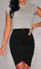 Shein Black Asymmetrical Bodycon Skirt
