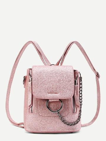 Shein Ring And Chain Detail Pu Backpack
